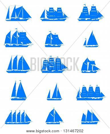 15 isolated old sailling ships of various types and times