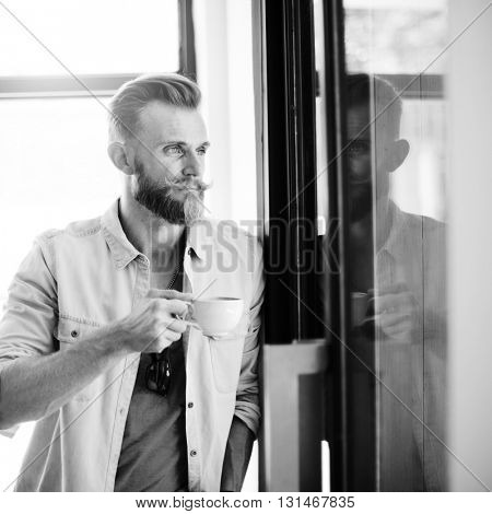 Man Hipster Coffee Break Casual Vision Planning Strategy Concept