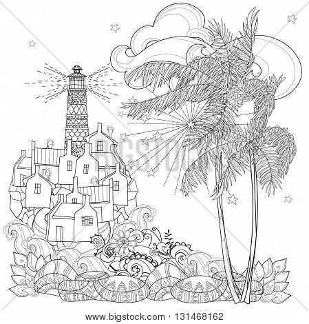 Hand drawn doodle outline palm tree, fairy cartoon city , lighthouse decorated with floral ornaments.Vector zen art illustration.Sketch for tattoo, poster or adult coloring pages.Boho style.