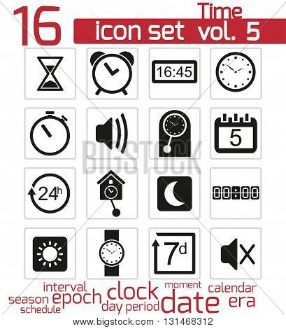 Vector black Time and clock Icons on white background