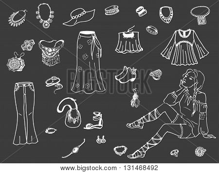 Vector illustration of female clothing and jewelry. Fashion women clothes on dark background.