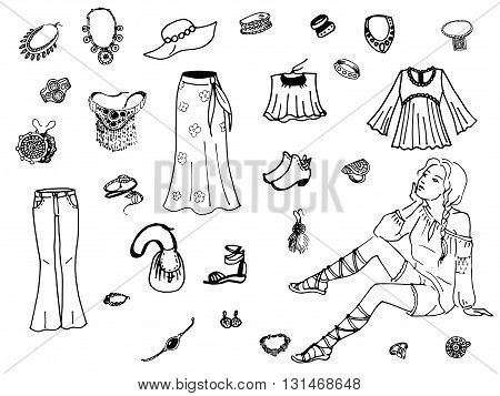 Vector illustration of female clothing and jewelry. On an isolated white background. Fashion women clothes.