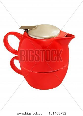 Red ceramic teapot isolated on white background.