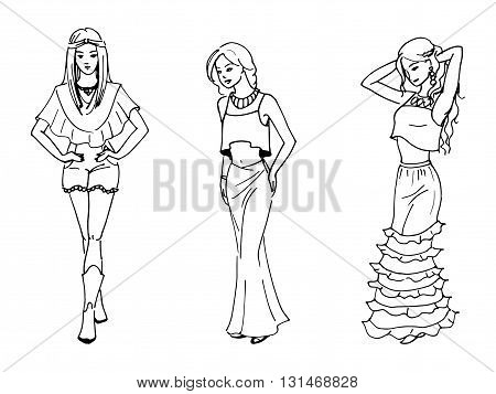 Vector illustration of three beautiful fashion girl drawn by hand. Background doodle women in beautiful dresses.