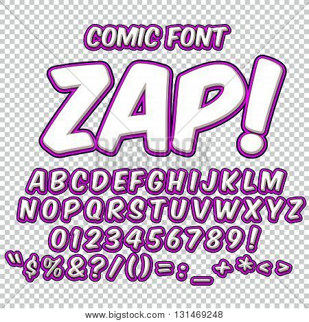 Creative high detail comic font. Alphabet in the style of comics, pop art. Letters and figures for decoration of kids' illustrations, websites, posters, comics and banners.