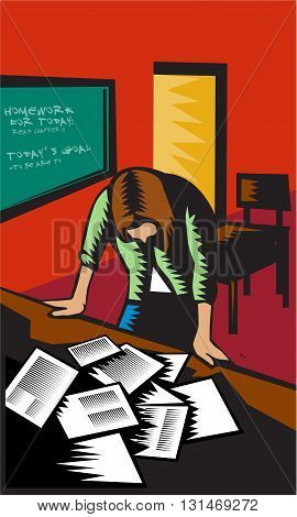Depressed female school teacher llustration standing over table with books and test papers with empty classroom in background done in woodcut style.