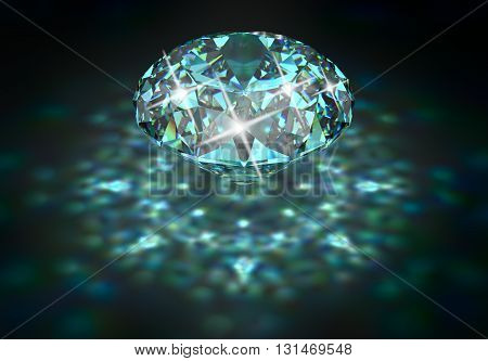 Big diamond with blue tint and caustic. 3D rendering.