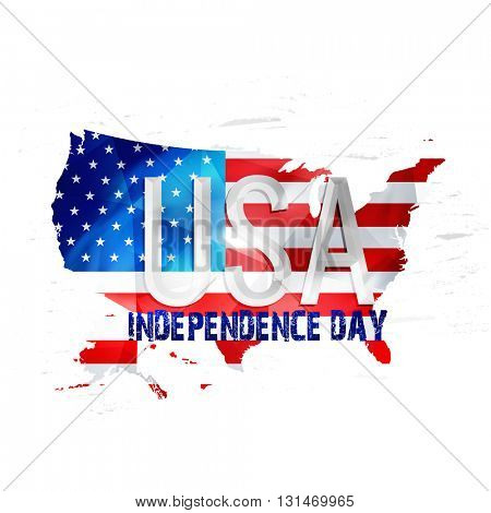 Glossy Text U.S.A on United States of America Map in Flag colors for 4th of July, Independence Day celebration.