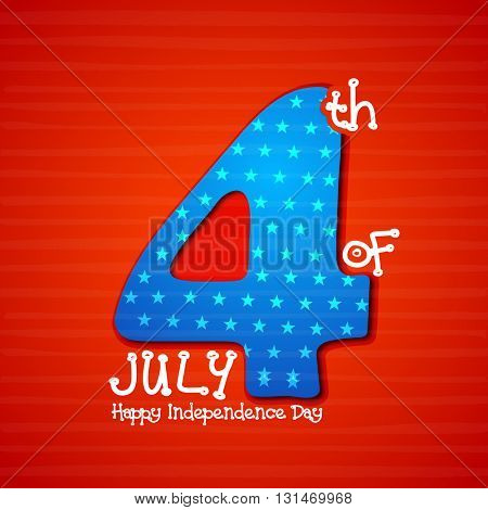 Stylish Text 4th of July on shiny red background for Happy American Independence Day celebration.