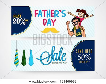 Creative website header or banner set of Limited Time Sale with 20% Off, Vector illustration of cute girl sitting on her father's shoulder for Happy Father's Day celebration.