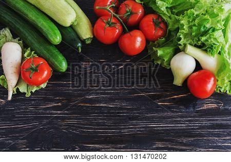 Green Salad, Tomatoes On Vine, Cucumbers, Zucchini, Squash, And Onion