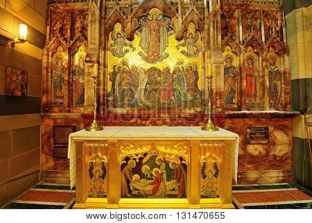 MELBOURNE AUSTRALIA - OCTOBER 25 2015: Interior design of St. Paul's Cathedral St. Paul's Cathedral is a cathedral church of the Anglican Diocese of Melbourne Victoria in Australia.