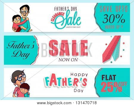 Creative website header or banner set, Clearance Sale with Flat Discount Offer, Vector illustration of cute boy hugging his father for Happy Father's Day celebration.