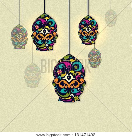 Creative colourful lamps with floral decoration on grungy background, Greeting card design for Islamic Festivals celebration.