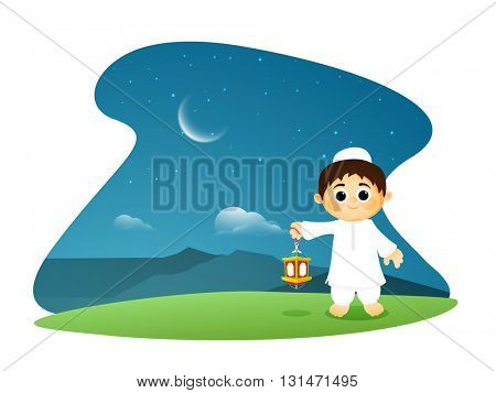 Illustration of a Muslim Boy holding Traditional Lantern on glossy night background for Islamic Festivals Celebration.