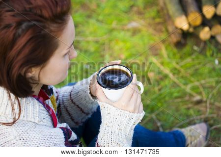 The Girl Prepares Coffee In Nature.