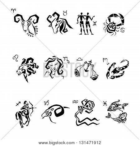 Horoscope Zodiac Star signs. Illustrations of twelve.