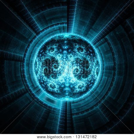 Cosmic eye. Time Machine. Alien mind. Magnetic storm. Kabbalistic sign. Mysterious psychedelic relaxation wallpaper. Fractal abstract pattern. Digital artwork creative graphic design.