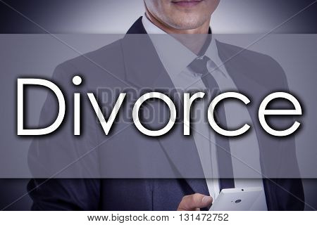 Divorce - Young Businessman With Text - Business Concept