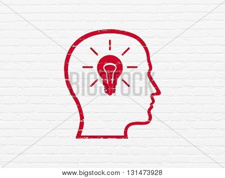Information concept: Painted red Head With Lightbulb icon on White Brick wall background