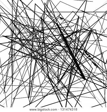 Irregular, Random Chaotic Lines. Abstract Monochrome Illustration.