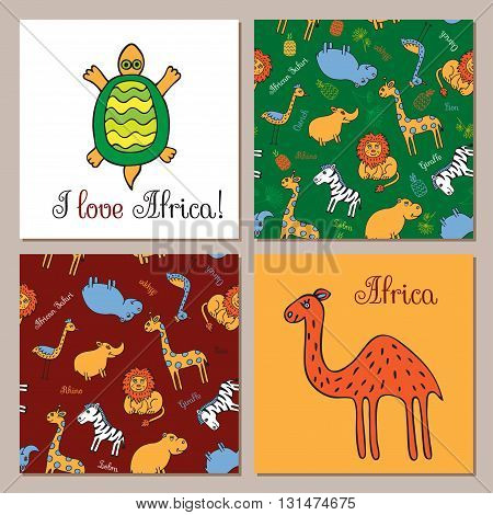 The tortoise and the camel in Doodle style hand drawn. Two seamless pattern with wild animals of Africa. Vector set of images for printing on fabric, clothes, packaging, Wallpapers.