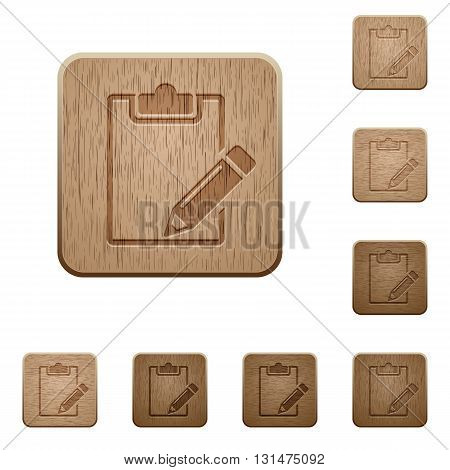 Set of carved wooden notepad buttons in 8 variations.