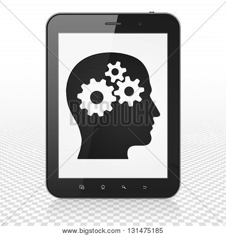 Information concept: Tablet Computer with  black Head With Gears icon on display,  Tag Cloud background, 3D rendering