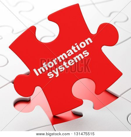 Information concept: Information Systems on Red puzzle pieces background, 3D rendering