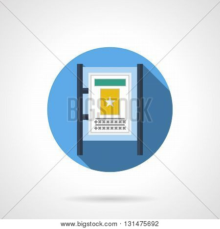 Advertising board or lightbox. City outdoor advertising, public information and commercial promotion. Rental of advertisement space. Round flat color design vector icon.