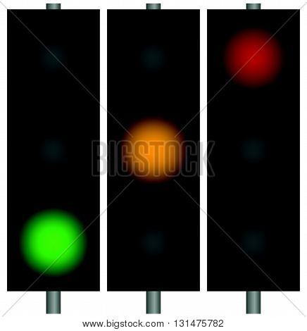 Traffic Lights, Traffic Lamps, Semaphors. Simple Illustration.