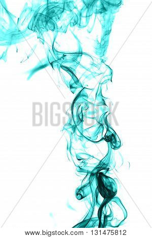 Abstract cyan smoke on white background from the incense sticks