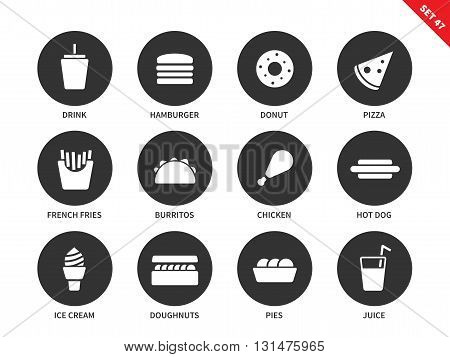 Fast food vector icons set. Eating and nutrition concept. Junk food items, hamburger, donut, pizza, fries, burritos, chicken, hotdog, ica cream, juice. Isolated on white background.