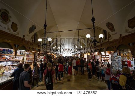 Krakow, Poland- May 25, 2016: Market in the main square in Krakow, Poland