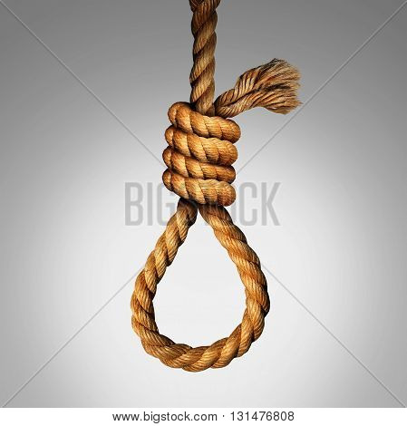 Suicide Noose concept as a rope in a lasso slipknot as a symbol for death or justice punishment or execution or as a psychology metaphor for desperate pain and despair as a photo realistic illustration.
