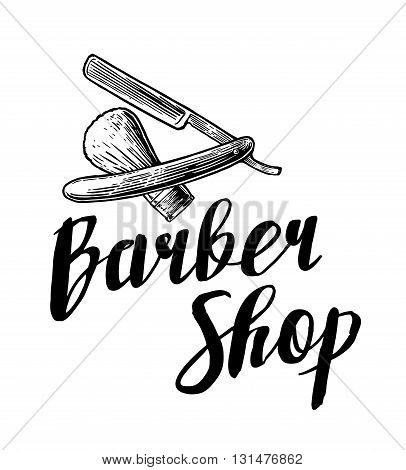 BarberShop. Vector black and white illustrations and typography elements. Hand drawn vintage engraving for poster label banner web logotype.