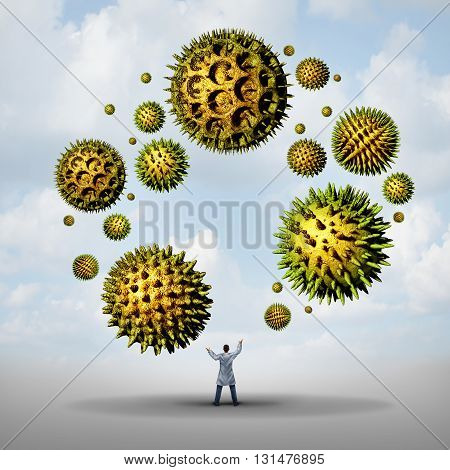 Pollen allergy treatment concept as a group of microscopic organic pollination particles being juggled by a medical doctor as flowering plants flying in the air as a health care 3D illustration symbol.