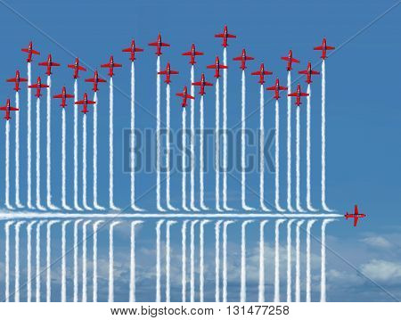 Different strategy business concept as an individual jet airplane flying under the competition as a metaphor for new confident strategic thinking finding a new way to success with 3D illustration elements.