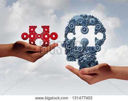 Concept of business training and skill development symbol as human hands holding a puzzle piece and gears shaped as a head as a technology or training metaphor with 3D illustration elements.
