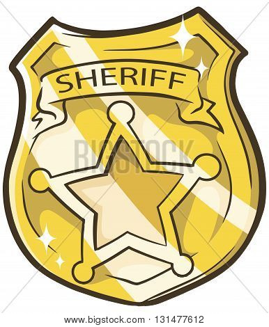 A vector illustration of cartoon golden sheriffs badge with star