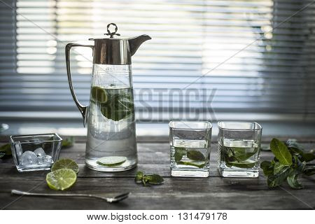 water and mint in a glass on a light background. horizontal composition