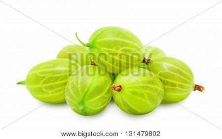 Heap of fresh ripe gooseberry berries without leaves isolated on white background. Design element for product label, catalog print, web use.
