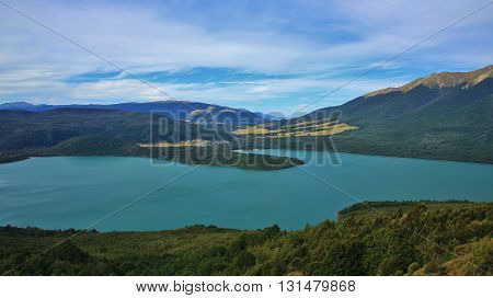 View from Mt Robert New Zealand. Lake Rotoiti and small village St Arnaud. Summer landscape.