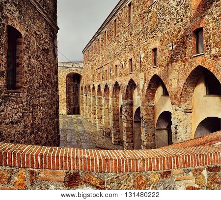 walls of the fortress priamar in Savona