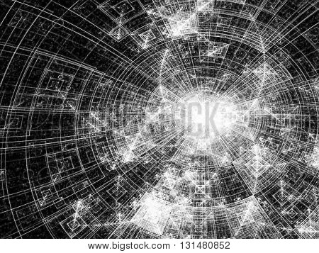 Abstract technology background - computer-generated image -fractal. Digital art: shiny metal or glass disc surface divided into segments. Tech background for web-design, banners, posters.