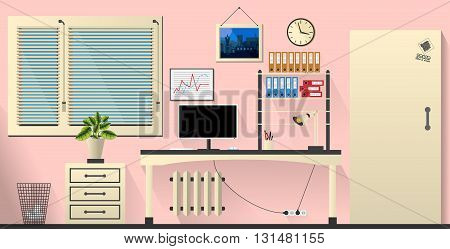 Flat Vector Interior Office Room In Tender Rose And Cream Style. Vector Illustration
