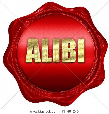 alibi, 3D rendering, a red wax seal