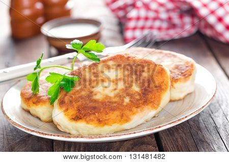 potato fritters on a plate on table