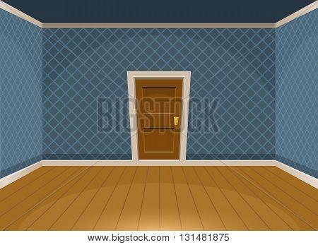 Cartoon Empty Room With A Door In Vintage Style. Vector Illustration