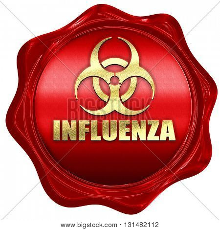 Influenza virus concept background, 3D rendering, a red wax seal